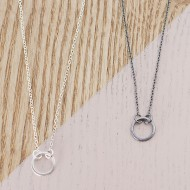 AJ213_small_circle_necklace_silver_black_ayana_jewellery
